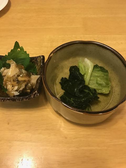 広島菜とつぶ貝わさび