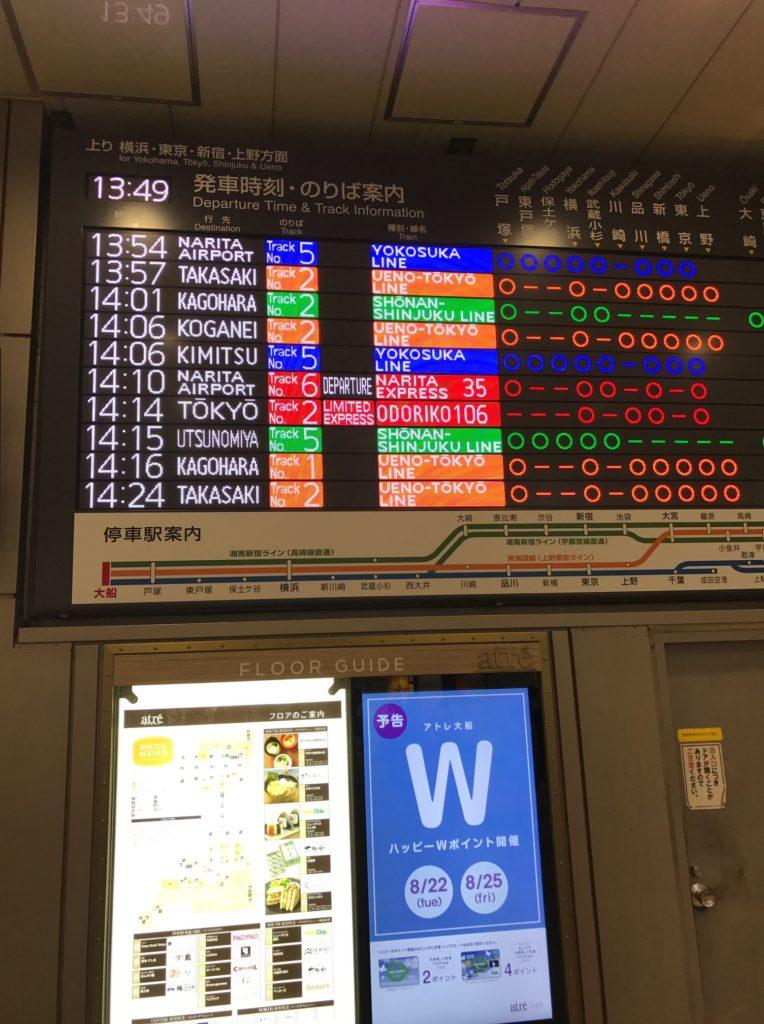 大船駅の電光掲示板