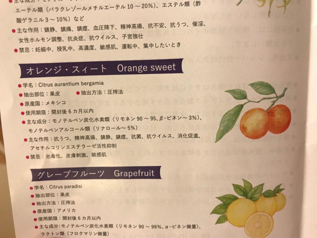 オレンジ・スィート精油の説明書